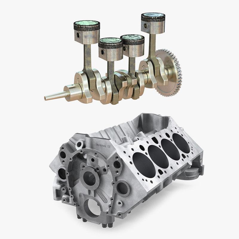 engine block piston turbosquid