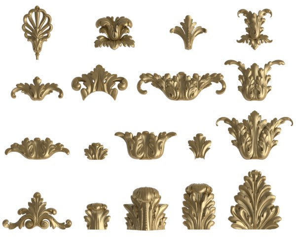 3D acanthus vertical decorating interior model