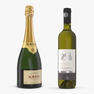 champagne wine bottles 3D model