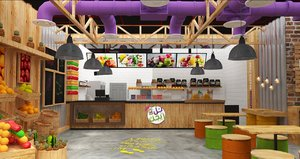 juice store interior scene model