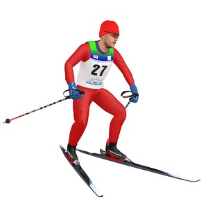 rigged cross country skier model