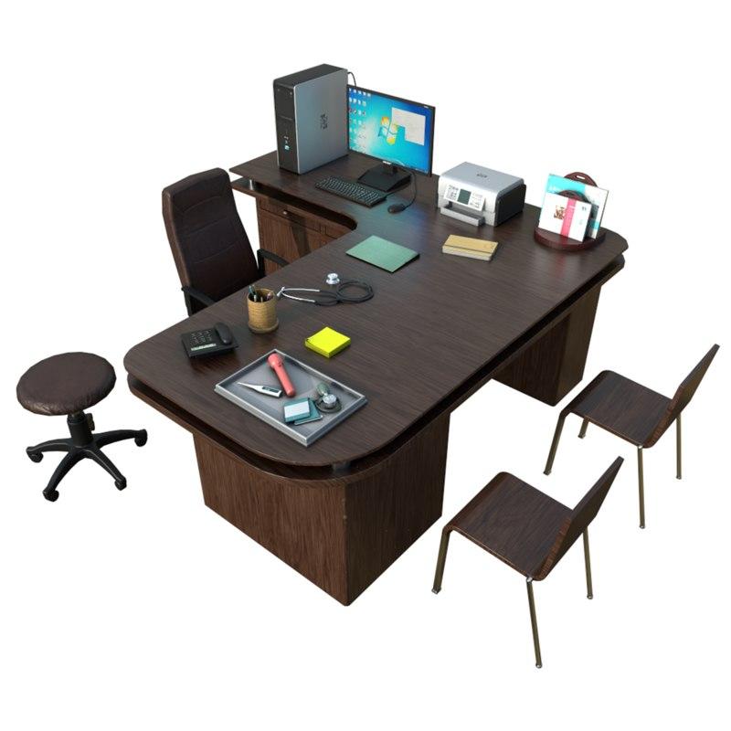 3D model doctor desk clinic accessories