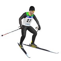 rigged cross country skier 3D model
