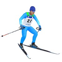3D rigged cross country skier model