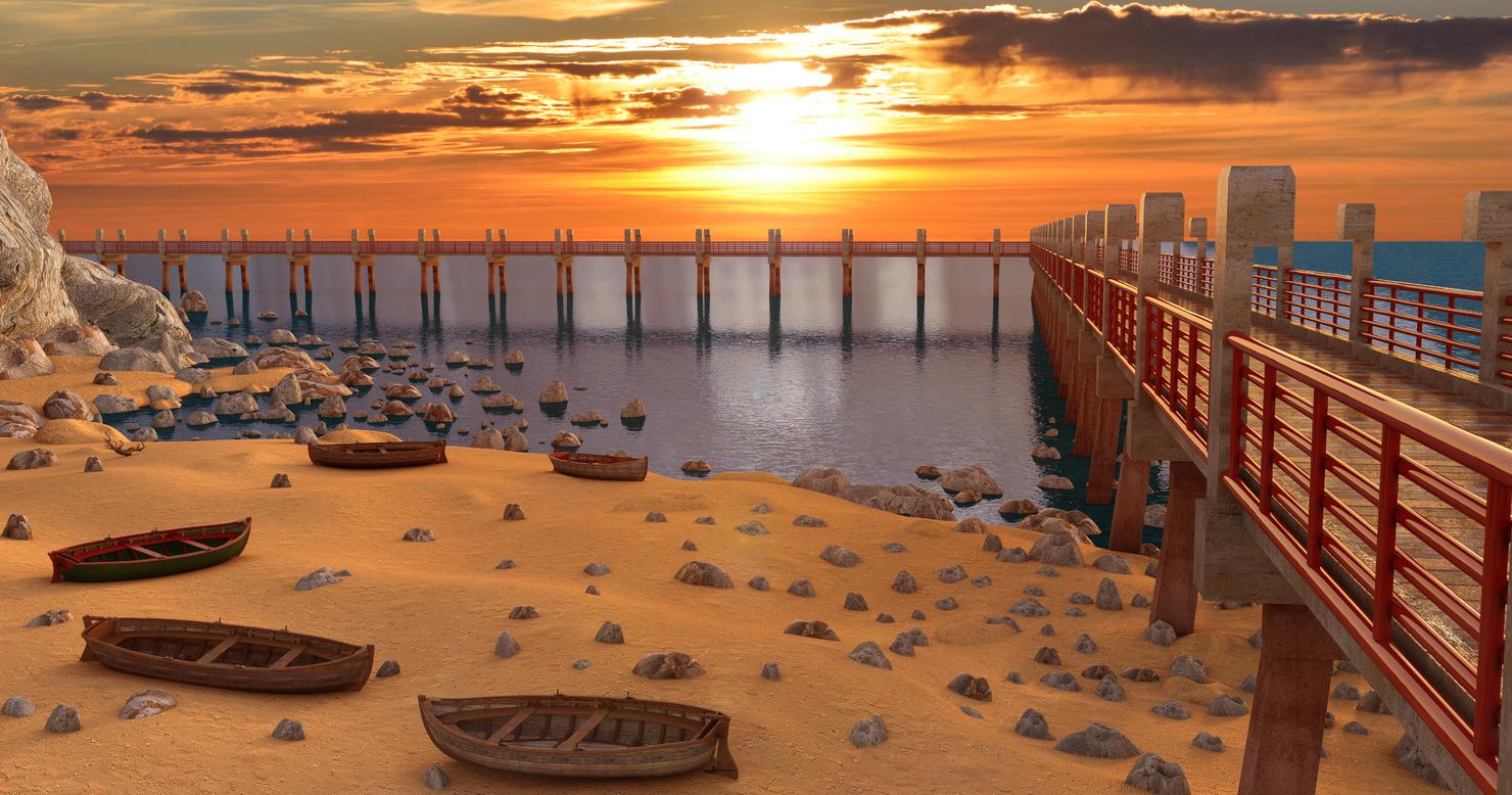 beach landscape dock model