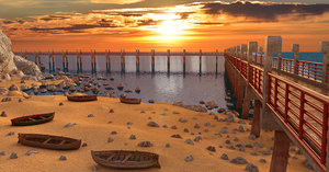 beach landscape dock model