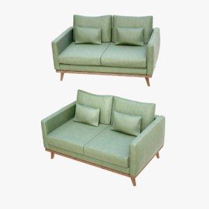 lightwave sofa grey wood 3D model