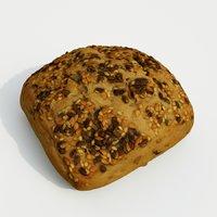 3D bread loaf food model