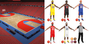 basketball pack balls arena 3D