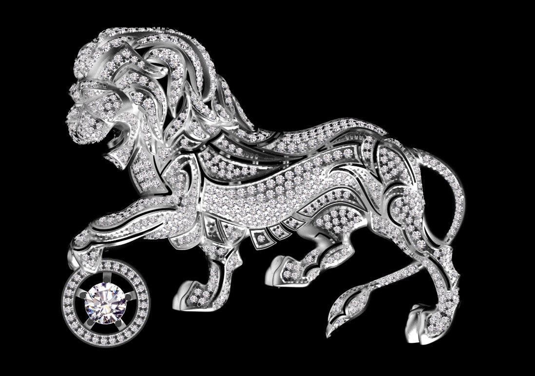 3D chanel brooch lion model