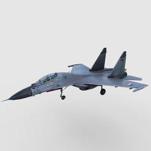 3D model sukhoi su-30 mki air fighter