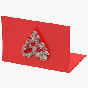 valentines card 01 laying 3D model