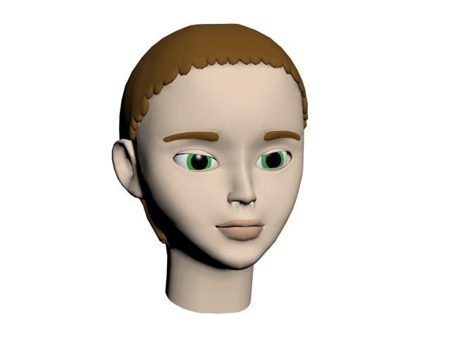 3D model cartoon styled female head