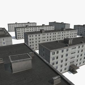 3D old communist apartment building