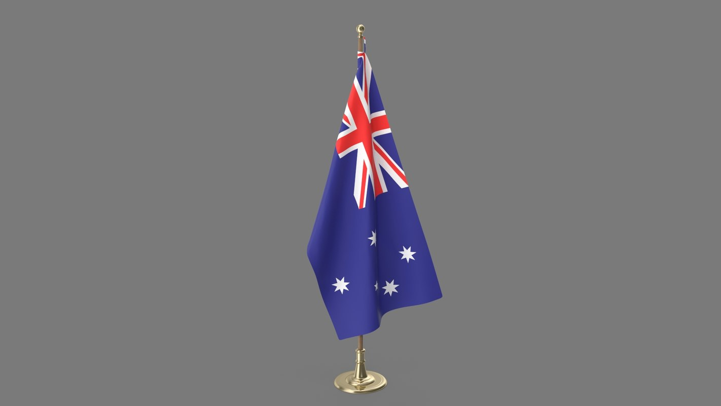 3D model australian office flag