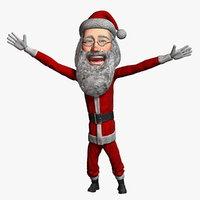 3D cartoon santa claus 3
