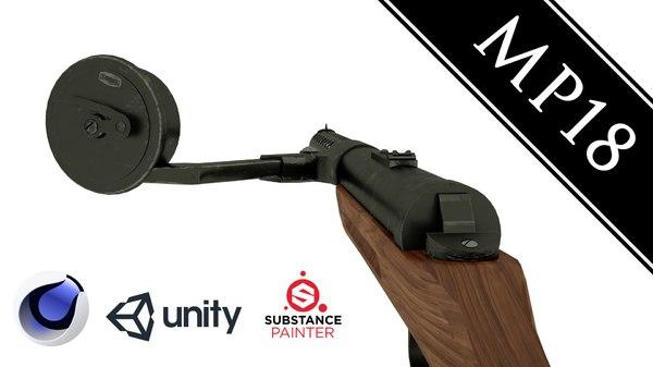 mp18 submachine gun 3D model