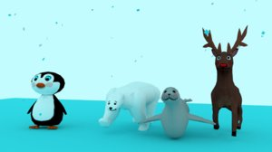 3D animals polar bear seal