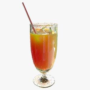 orange juice ice 3D