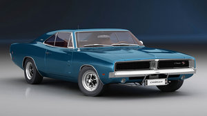 dodge charger 1969 interior 3D model