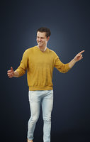 Vince A Caucasian A Male Character Walking Dressed In A Yellow Sweater