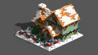 Xmas House Voxel - 2