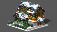 voxel xmas house 4 3D model