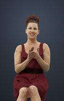 Yvette Fancy Dress Caucasian Female In Wine Red Dress Clapping And Sitting