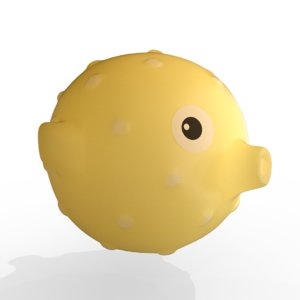 3D cute baby puffer fish model