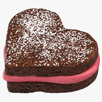 3D model heart shaped brownie