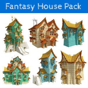 fantasy houses pack 3D model