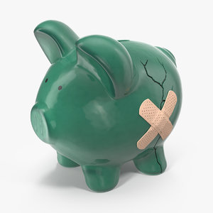 3D ceramic cracked piggy bank