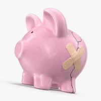 3D cracked piggy bank model