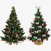 set christmas trees beautiful 3D model