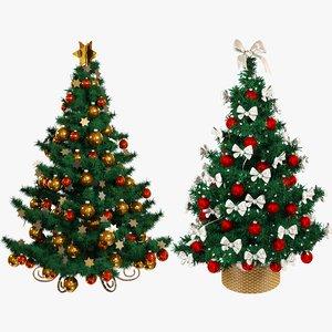 set christmas trees beautiful 3D model