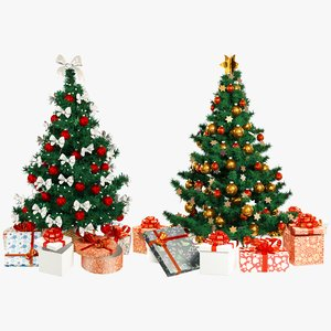 3D set christmas trees gifts