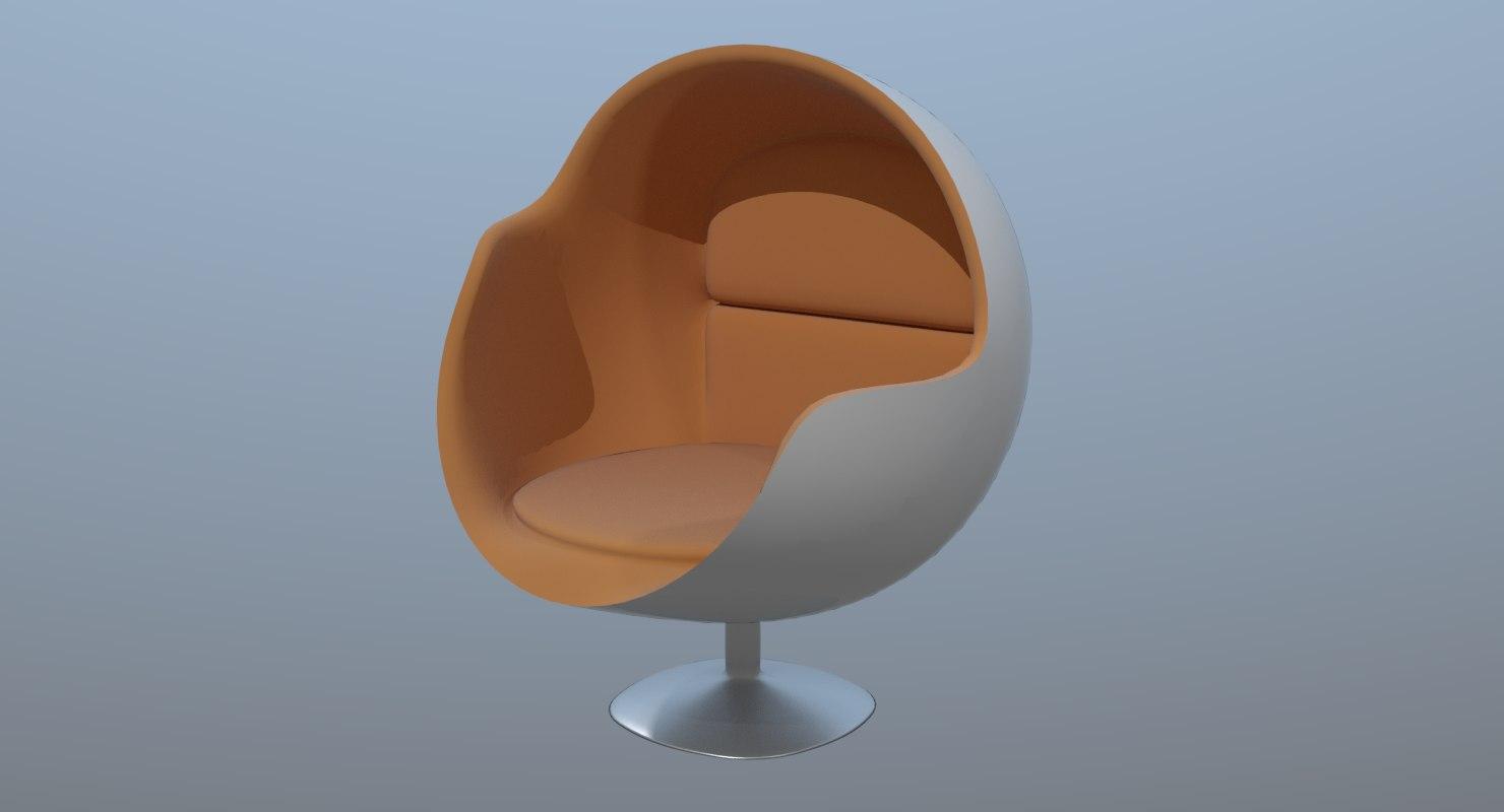 3D sleek futuristic chair model