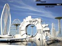 3D model sci-fi city architectural