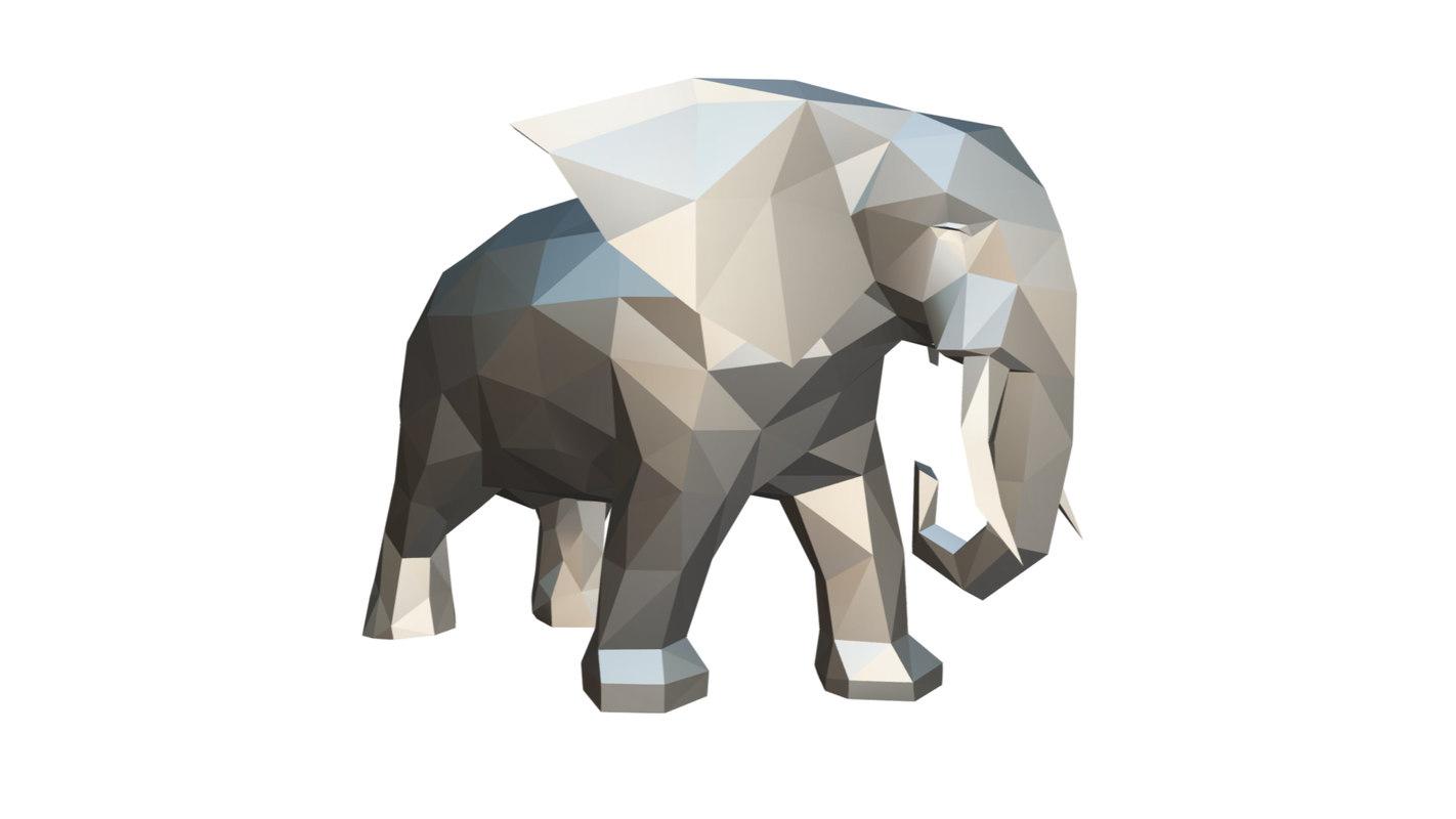 printed elephant figure 2 3D model
