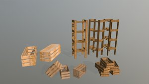 wooden crates shelving pack 3D model