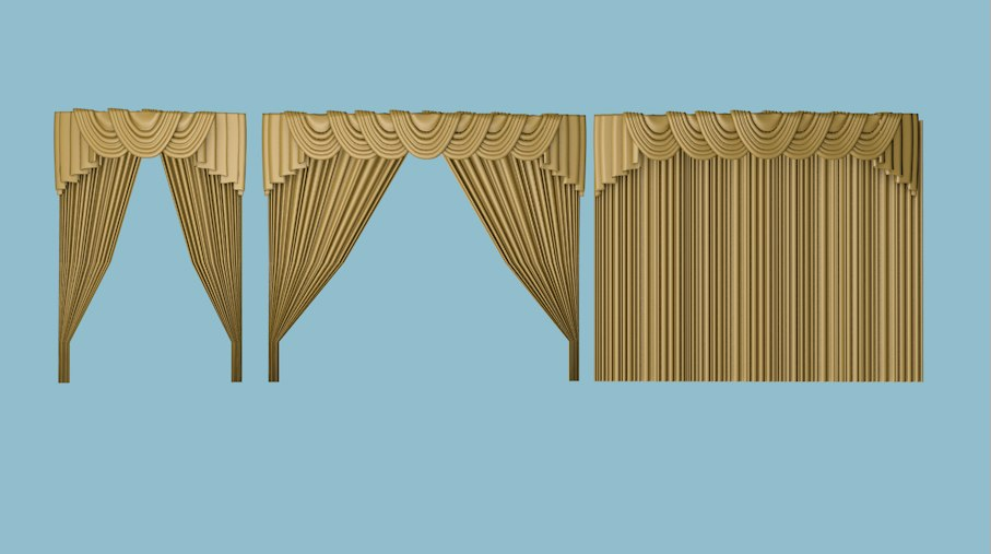 3D model curtains ballroom elegant