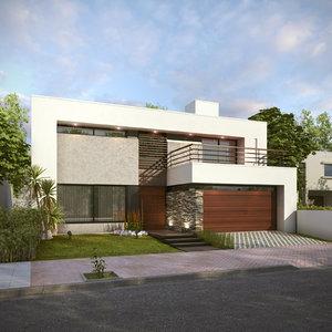 3D modern house j