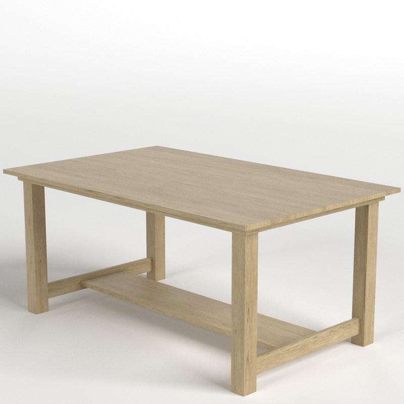 oak desk table 3D model