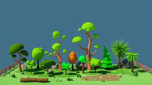 cartoon tree modeled 3D model