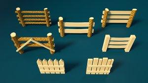 cartoon set fences wood model