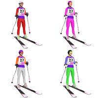 pack rigged female skier 3D model