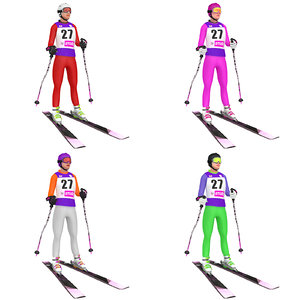 pack rigged female skier 3D model