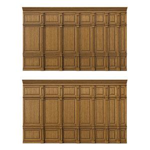 3D model wooden panels wood wall
