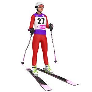 3D rigged female skier ski