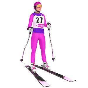 rigged female skier ski 3D